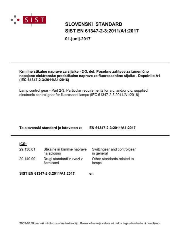 SIST EN 61347-2-3:2011/A1:2017
