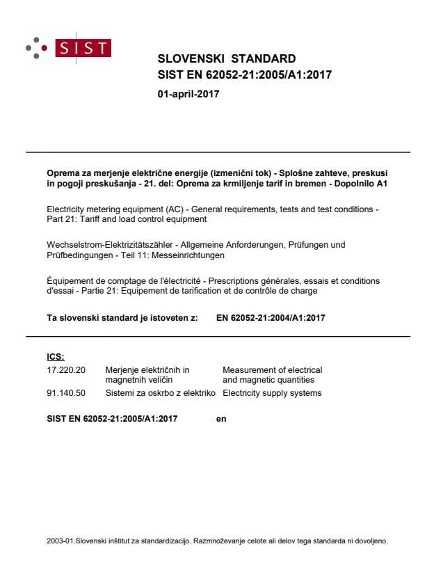 SIST EN 62052-21:2005/A1:2017