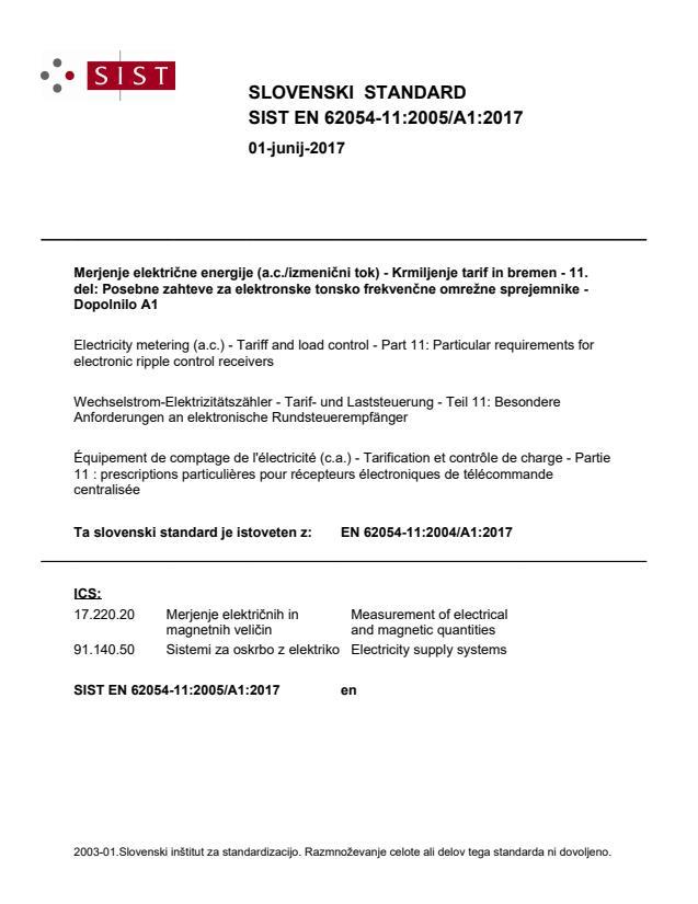 SIST EN 62054-11:2005/A1:2017