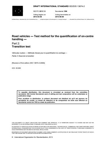 ISO 13674-2:2016 - Road vehicles -- Test method for the quantification of on-centre handling