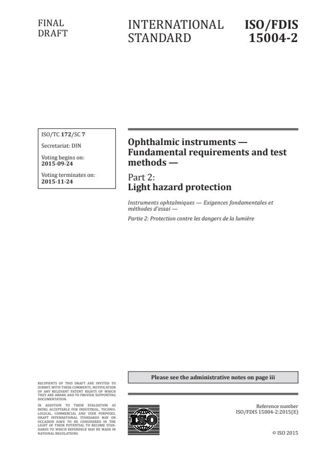 ISO/FDIS 15004-2 - Ophthalmic instruments -- Fundamental requirements and test methods