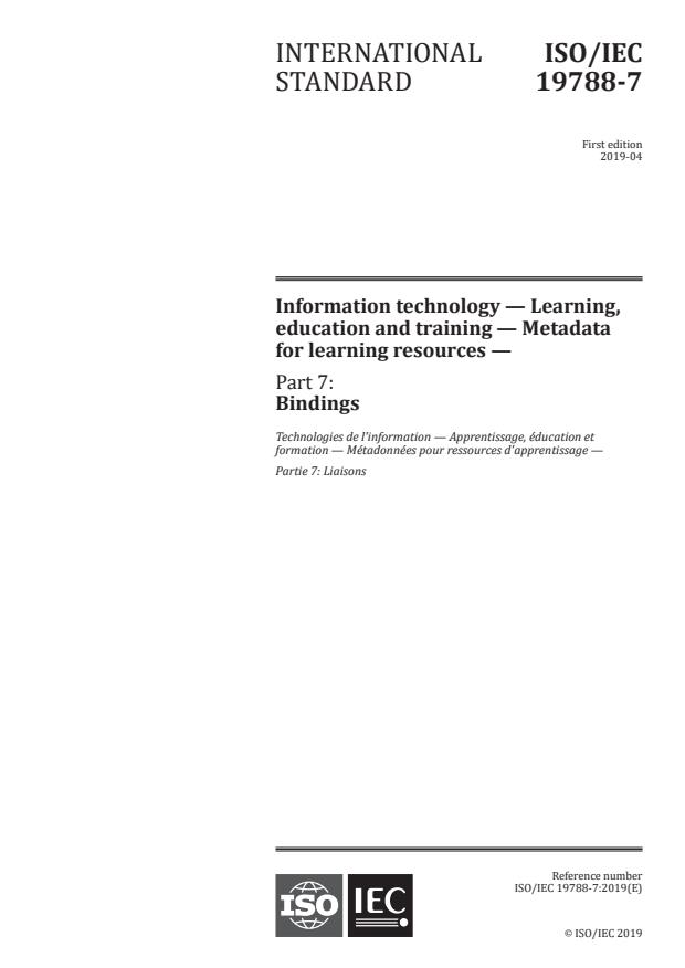 ISO/IEC 19788-7:2019 - Information technology -- Learning, education and training -- Metadata for learning resources