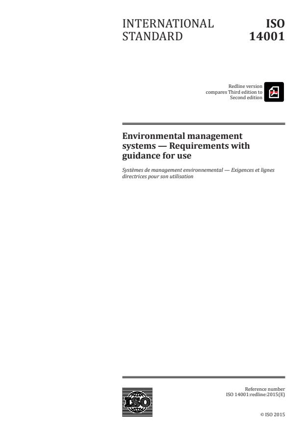REDLINE ISO 14001:2015 - Environmental management systems -- Requirements with guidance for use