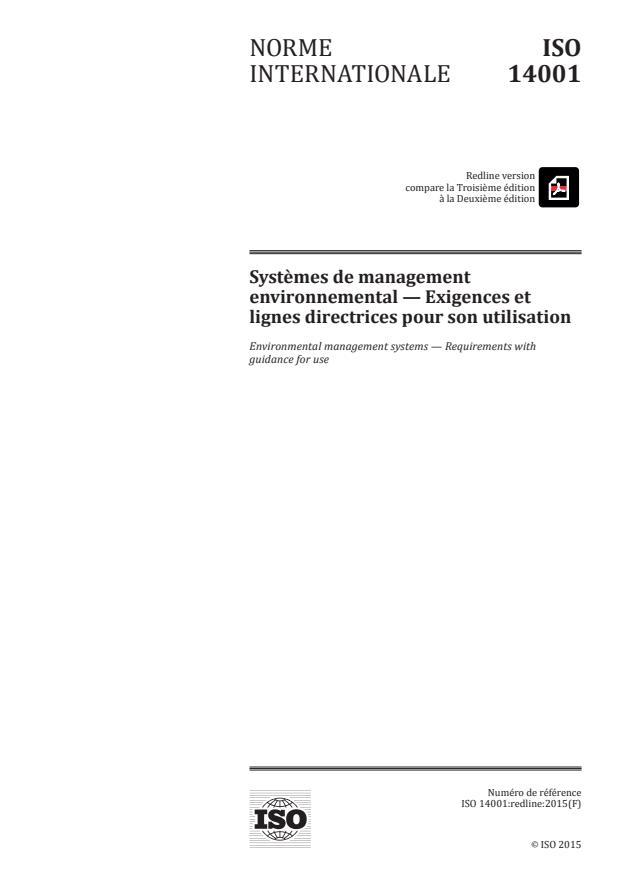 REDLINE ISO 14001:2015 - Systemes de management environnemental -- Exigences et lignes directrices pour son utilisation