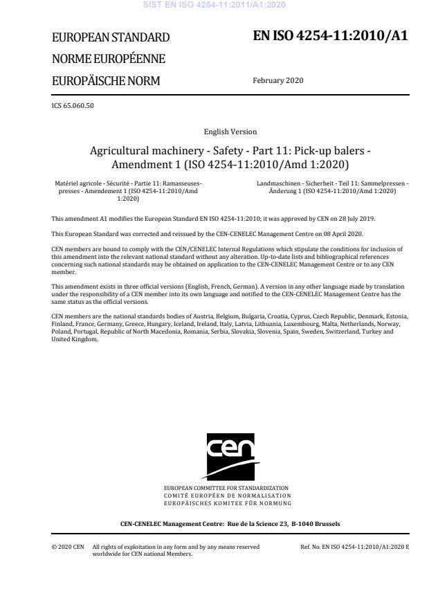 EN ISO 4254-11:2011/A1:2020