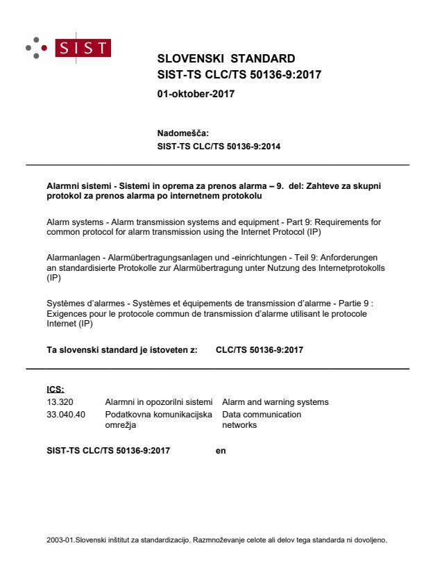 SIST-TS CLC/TS 50136-9:2017