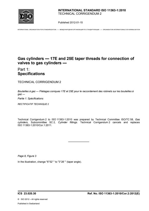 ISO 11363-1:2010/Cor 2:2012