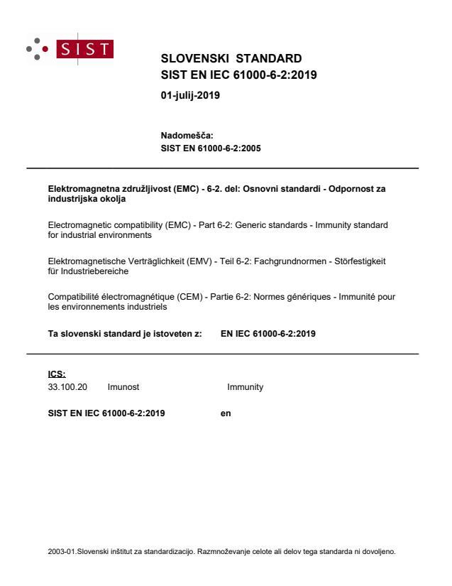 EN IEC 61000-6-2:2019