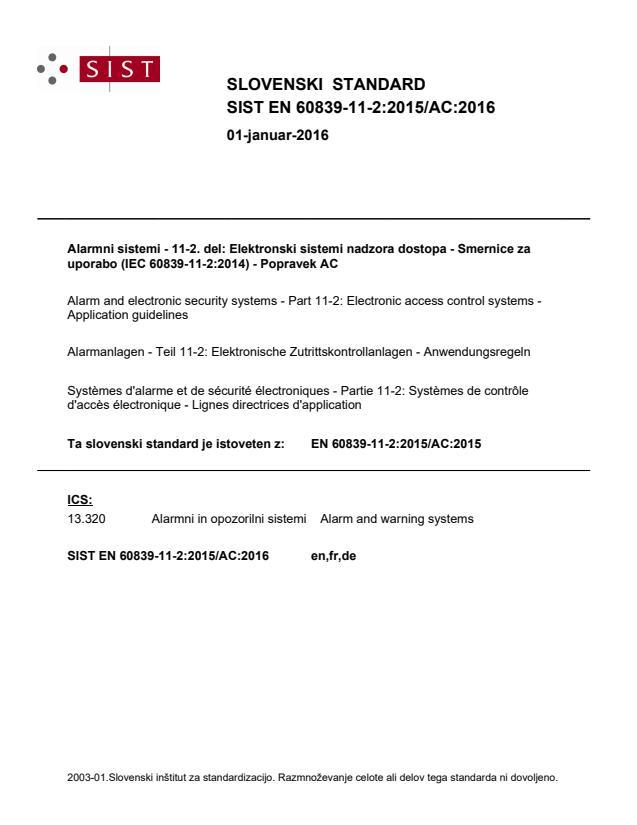SIST EN 60839-11-2:2015/AC:2016