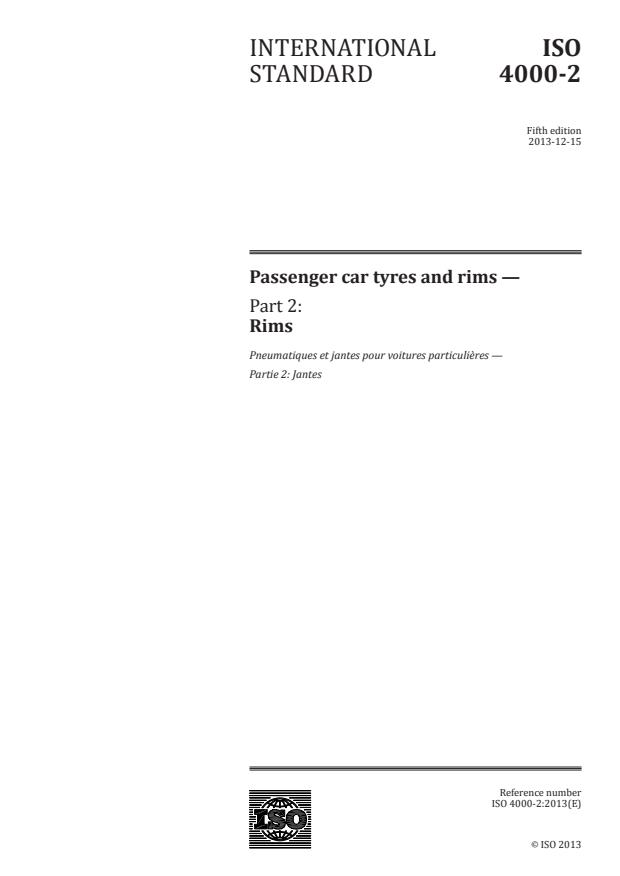 ISO 4000-2:2013 - Passenger car tyres and rims