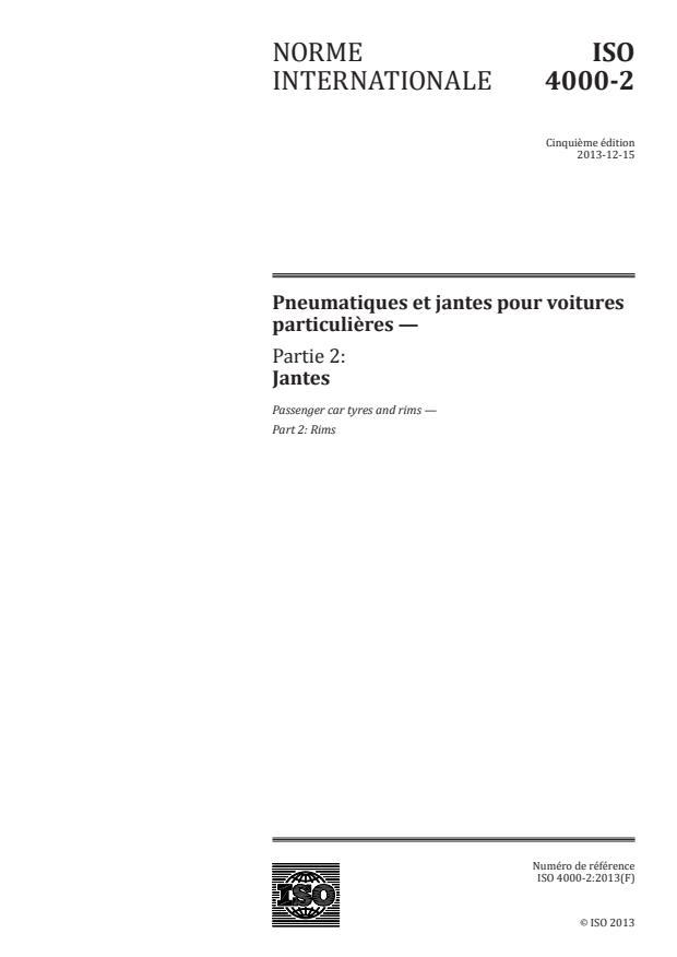 ISO 4000-2:2013 - Pneumatiques et jantes pour voitures particulieres