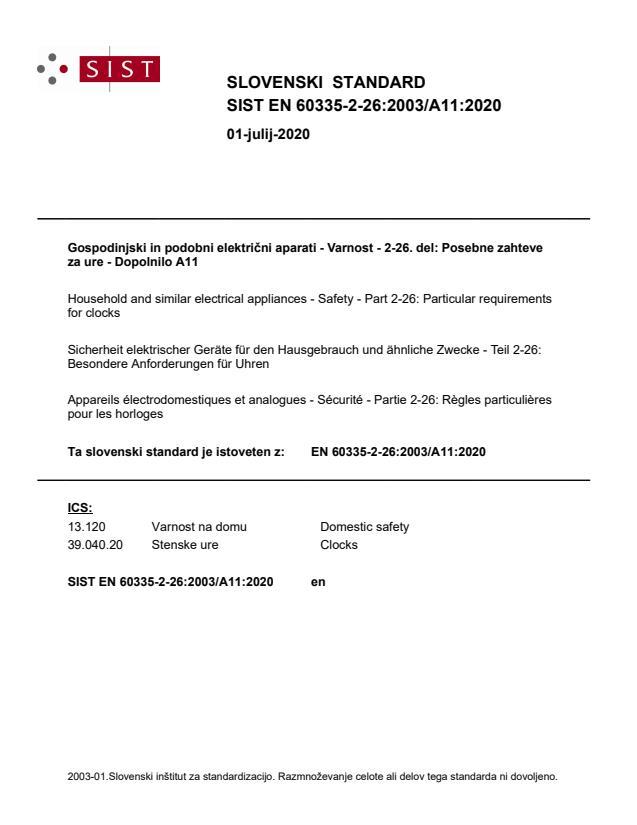 SIST EN 60335-2-26:2003/A11:2020