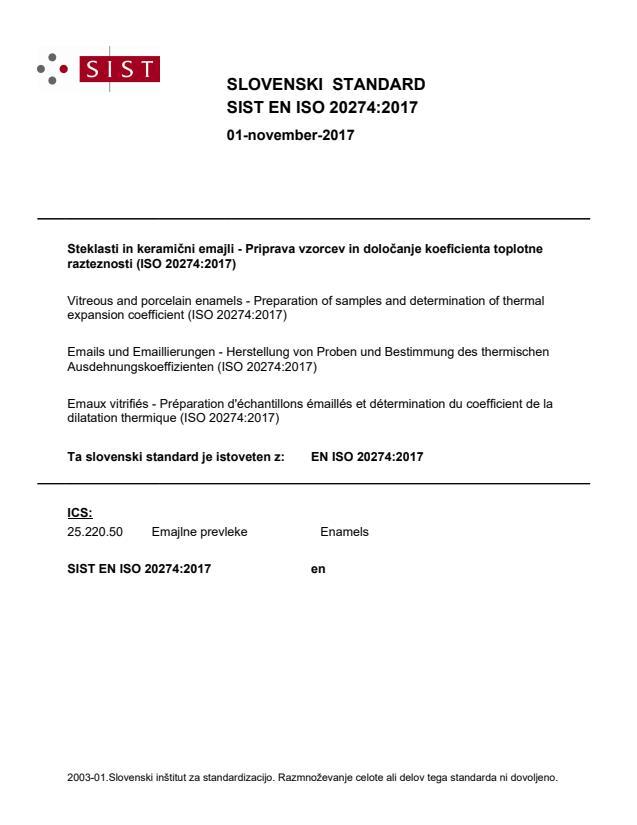 SIST EN ISO 20274:2017