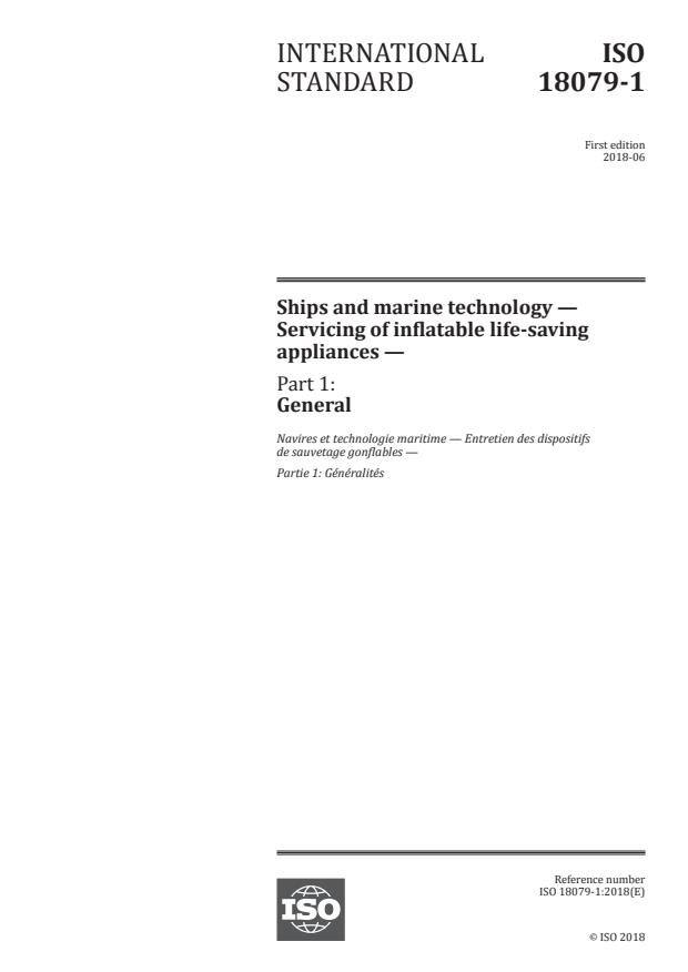 ISO 18079-1:2018 - Ships and marine technology -- Servicing of inflatable life-saving appliances