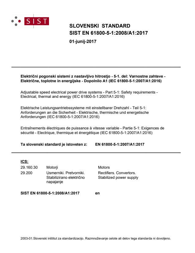 SIST EN 61800-5-1:2008/A1:2017