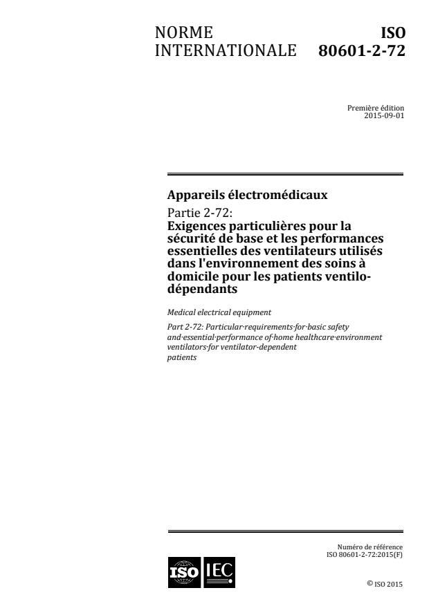 ISO 80601-2-72:2015 - Appareils électromédicaux