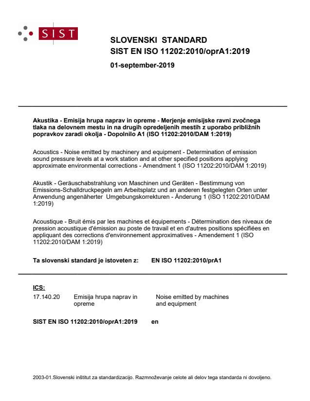SIST EN ISO 11202:2010/oprA1:2019