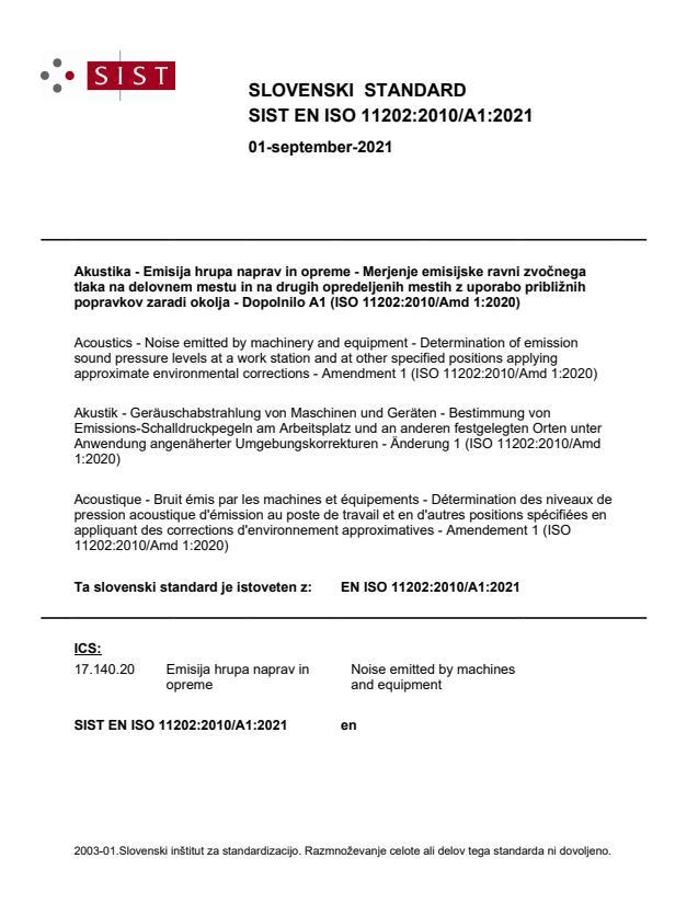 SIST EN ISO 11202:2010/A1:2021