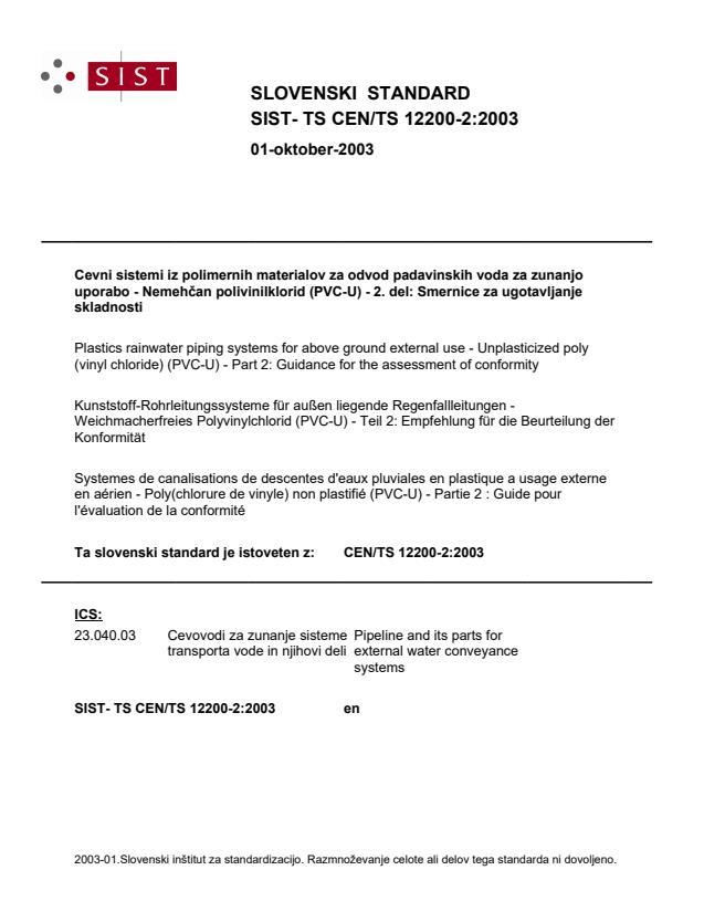 SIST- TS CEN/TS 12200-2:2003