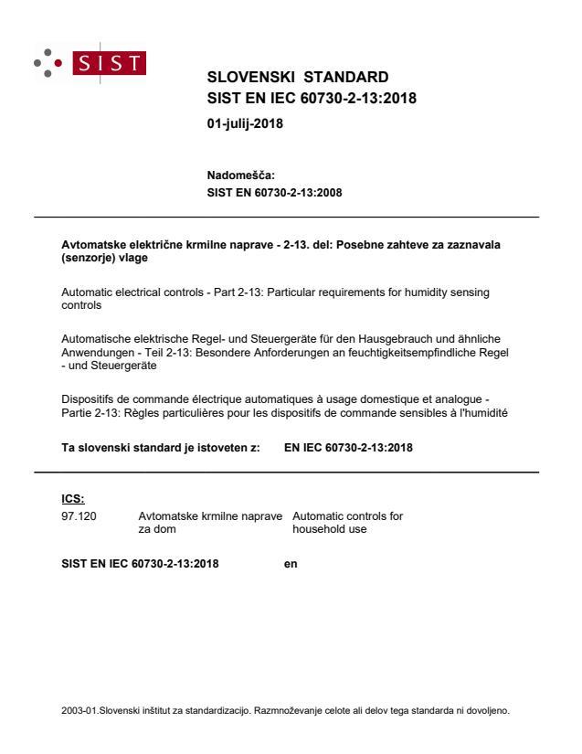 EN IEC 60730-2-13:2018