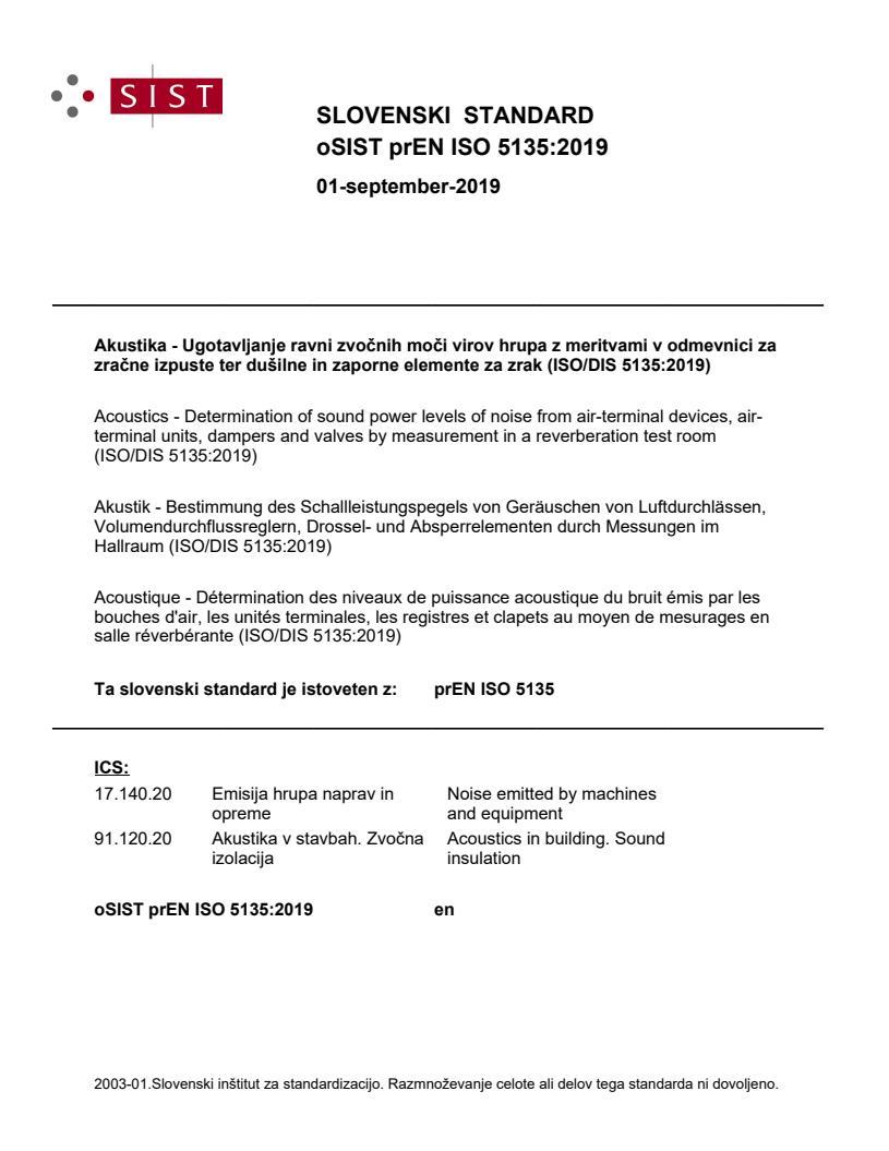 SIST EN ISO 5135:2020