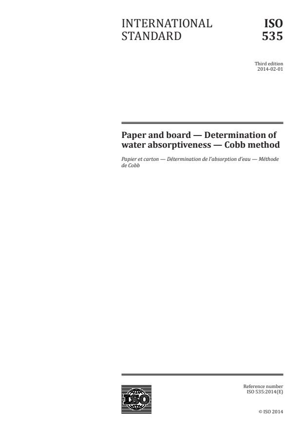 ISO 535:2014 - Paper and board -- Determination of water absorptiveness -- Cobb method