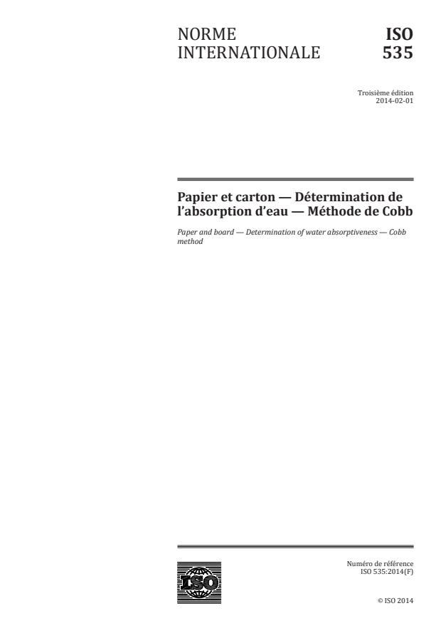 ISO 535:2014 - Papier et carton -- Détermination de l'absorption d'eau -- Méthode de Cobb