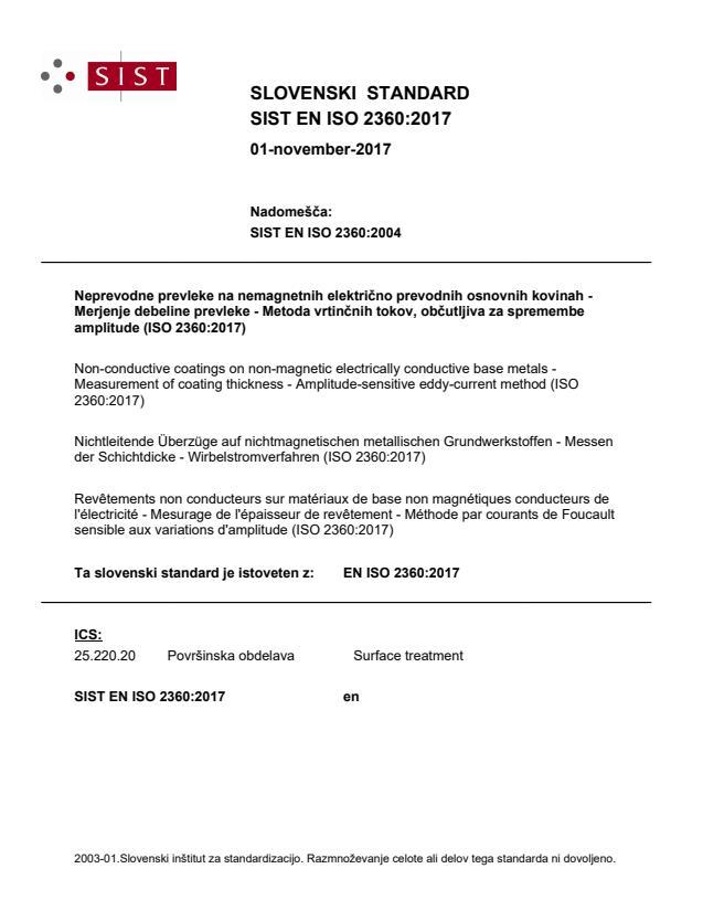 SIST EN ISO 2360:2017