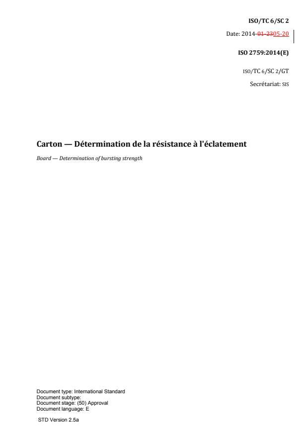 ISO 2759:2014 - Carton -- Détermination de la résistance a l'éclatement