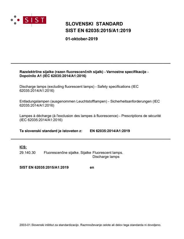 SIST EN 62035:2015/A1:2019