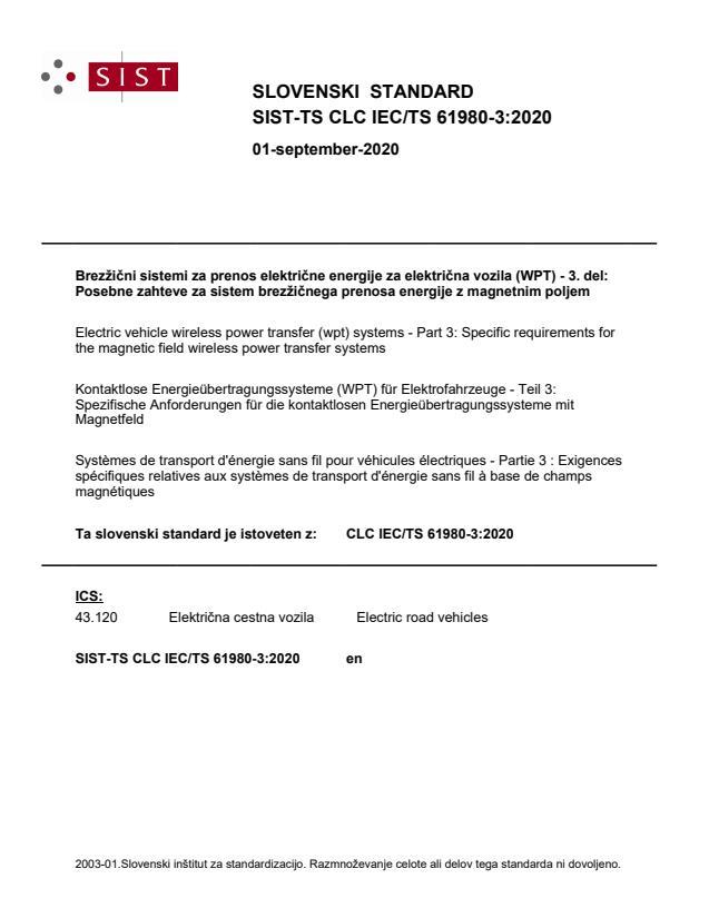 SIST-TS CLC IEC/TS 61980-3:2020 - BARVE