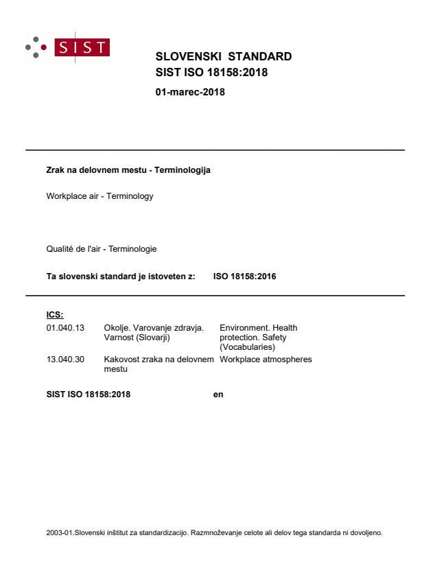 SIST ISO 18158:2018