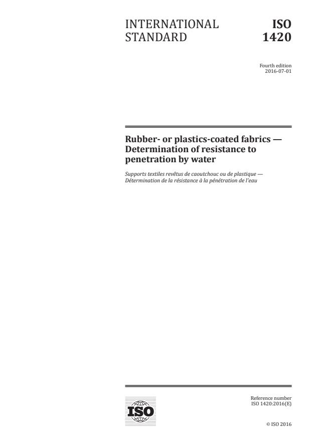 ISO 1420:2016 - Rubber- or plastics-coated fabrics -- Determination of resistance to penetration by water