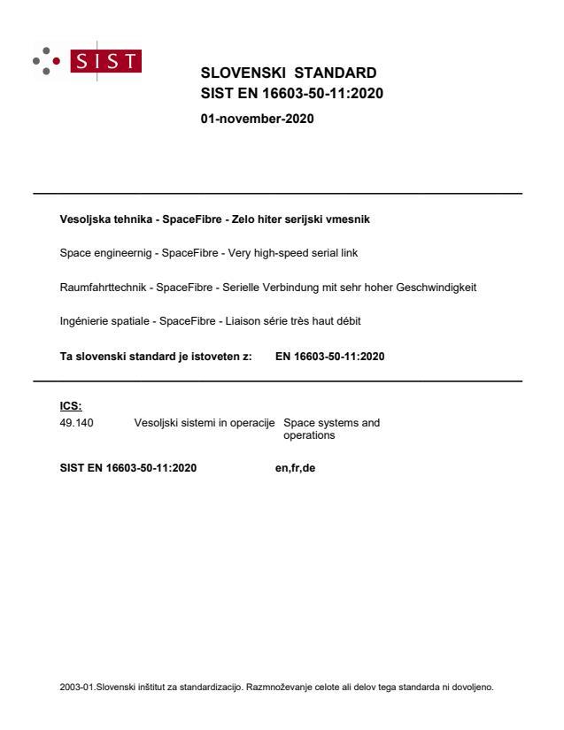 SIST EN 16603-50-11:2020 - BARVE