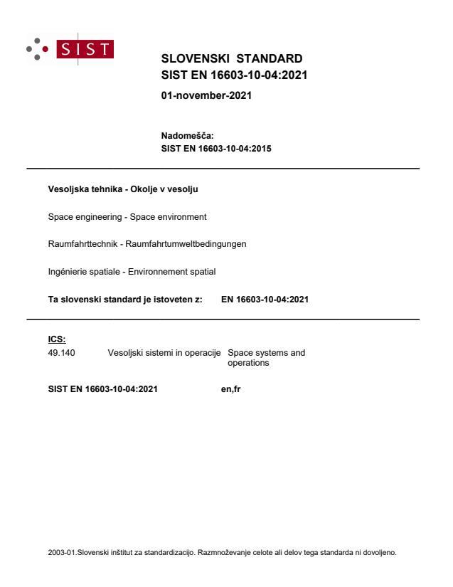 EN 16603-10-04:2021 - BARVE