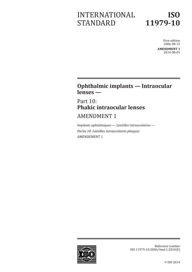 ISO 11979-10:2006/Amd 1:2014