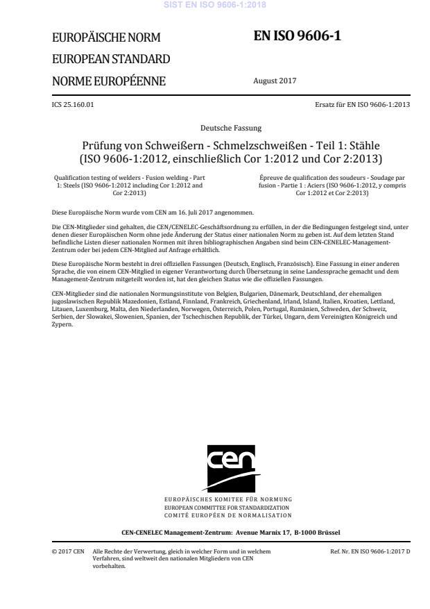 SIST EN ISO 9606-1:2018