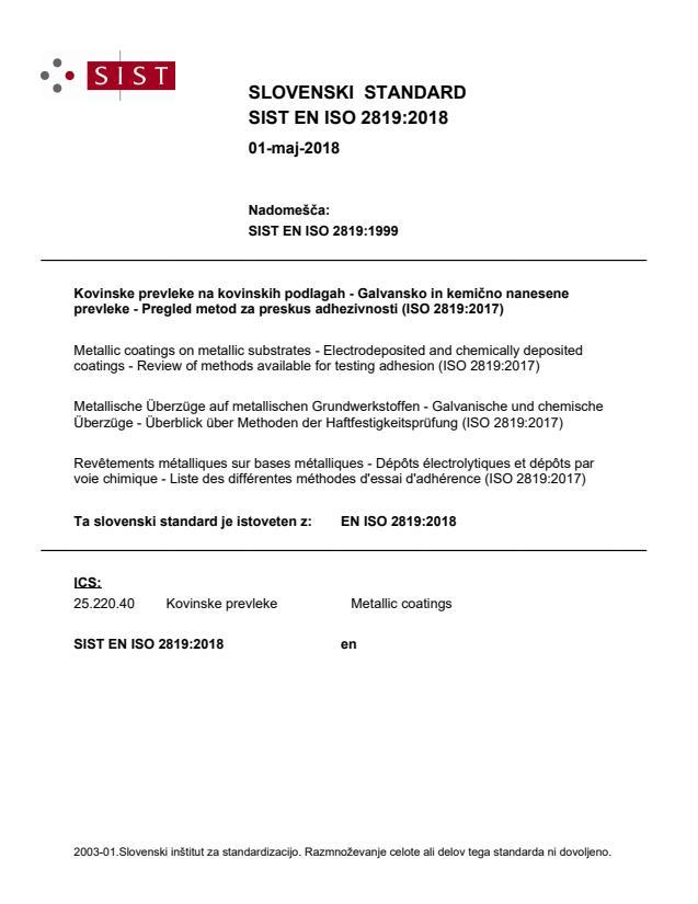 EN ISO 2819:2018