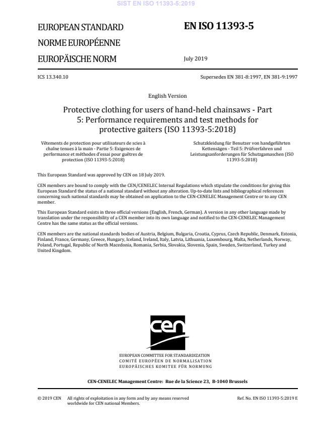 SIST EN ISO 11393-5:2019