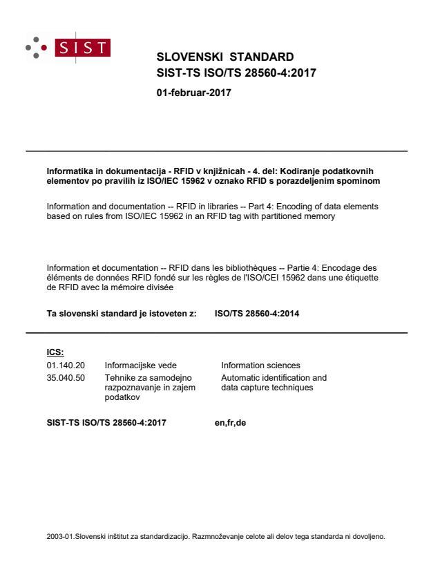 SIST-TS ISO/TS 28560-4:2017