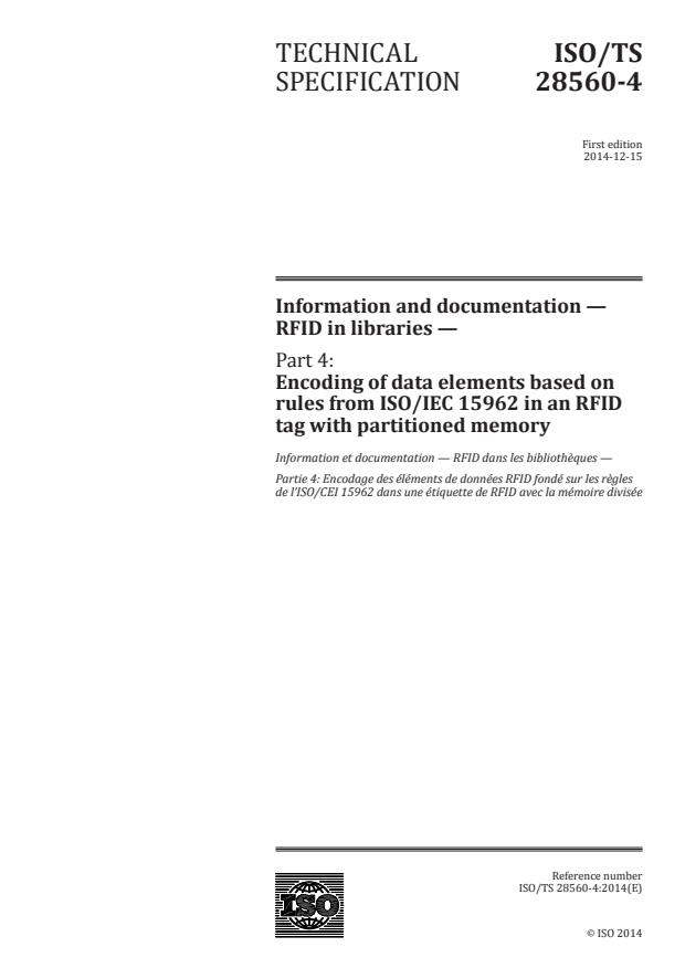 ISO/TS 28560-4:2014 - Information and documentation -- RFID in libraries