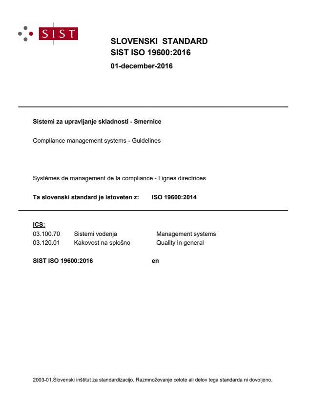 SIST ISO 19600:2016