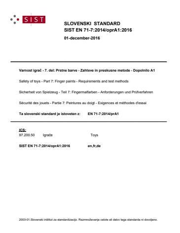 SIST EN 71-7:2014/kFprA1:2017