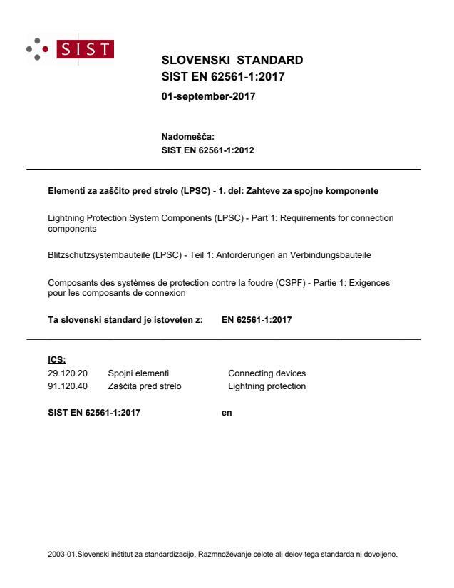 SIST EN 62561-1:2017