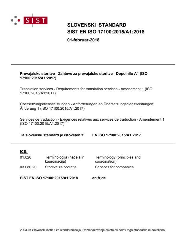 SIST EN ISO 17100:2015/A1:2018