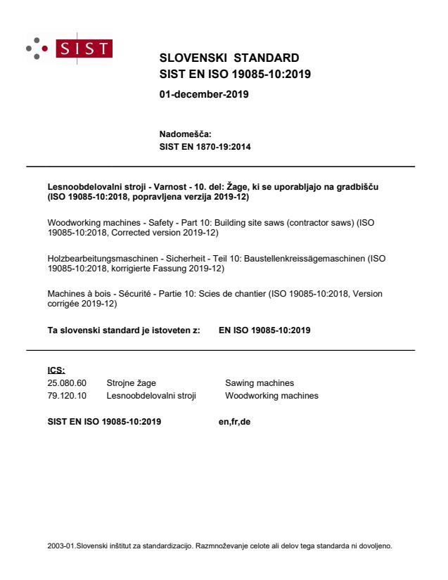 SIST EN ISO 19085-10:2019