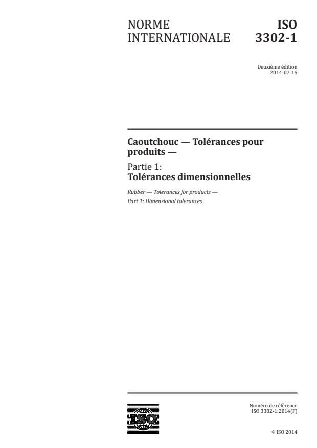 ISO 3302-1:2014 - Caoutchouc -- Tolérances pour produits