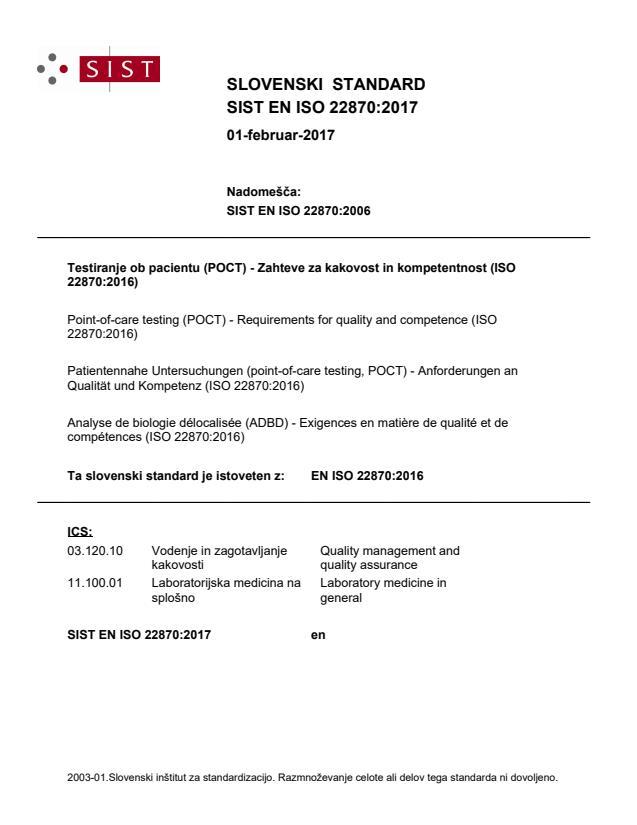 SIST EN ISO 22870:2017