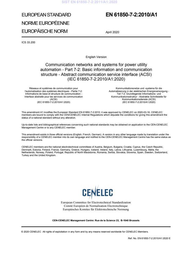 EN 61850-7-2:2011/A1:2020 - BARVE