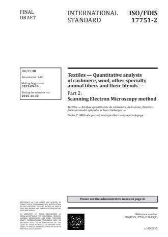 ISO 17751-2:2016 - Textiles -- Quantitative analysis of cashmere, wool, other specialty animal fibers and their blends